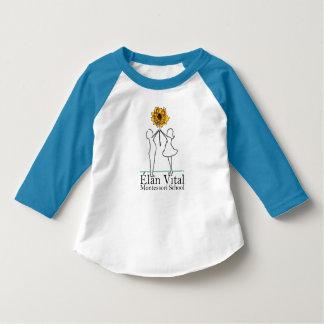 Azul de la manga del niño 3/4 del EVM Camiseta