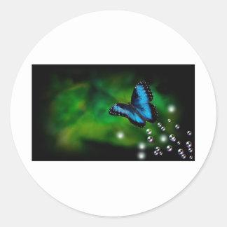 azul de la mariposa pegatina redonda