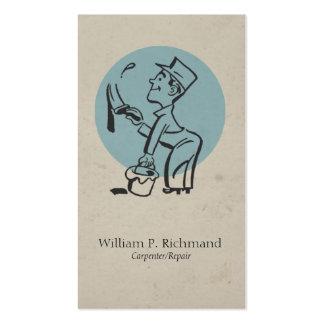 Azul de la pintura de la carpintería del vintage plantillas de tarjetas personales