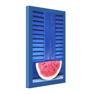 Azul de la sandía lona envuelta para galerías