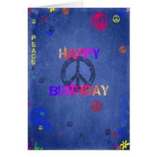 Azul de la tarjeta de cumpleaños del hippy del