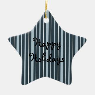 Azul de las telas a rayas 2 - buenas fiestas adorno de cerámica en forma de estrella