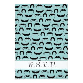 Azul de los bigotes R.S.V.P. Invitación 8,9 X 12,7 Cm