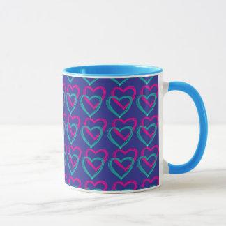 Azul de los corazones taza del campanero de 11