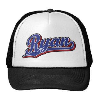 Azul de lujo de Ryan en logotipo rojo de la escrit Gorros