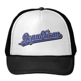 Azul de lujo del logotipo republicano de la escrit gorra