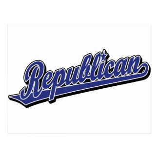 Azul de lujo del logotipo republicano de la escrit postal
