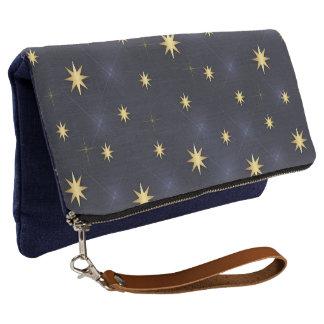 Azul de medianoche de las estrellas de oro clutch