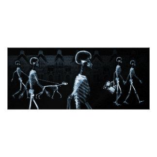 Azul de medianoche del negro del paseo de los esqu invitación personalizada