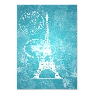 Azul de París romántico de la ducha nupcial Invitación 12,7 X 17,8 Cm