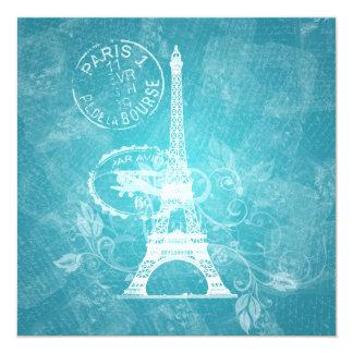 Azul de París romántico de la ducha nupcial Invitación 13,3 Cm X 13,3cm
