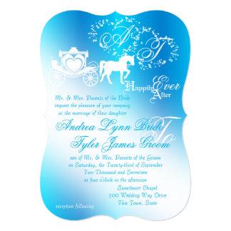 Azul de pavo real del carro del boda del cuento de invitación 12,7 x 17,8 cm