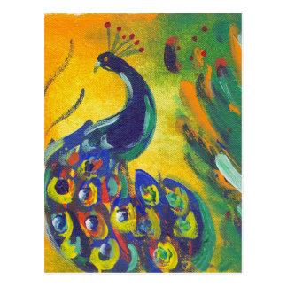 azul de pavo real postal