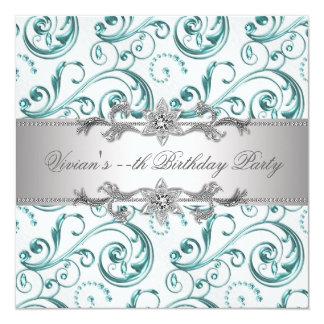 Azul de plata elegante toda la invitación del