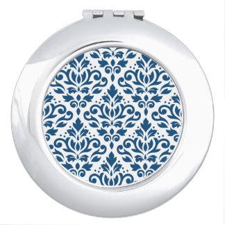 Azul de Ptn DK del damasco de la voluta en blanco Espejos De Maquillaje