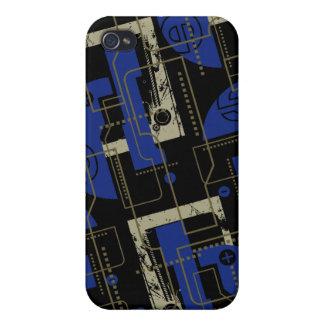 Azul de Techno en el negro i iPhone 4/4S Carcasas
