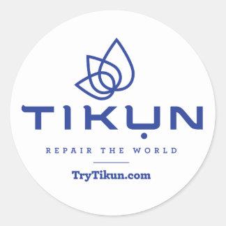 Azul de Tikun en el pegatina blanco