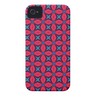 azul decorativo   del caleidoscopio y rojo de Case-Mate iPhone 4 protectores