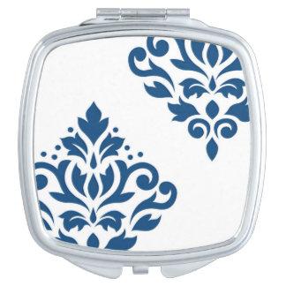 Azul del arte I del damasco de la voluta en blanco Espejo Compacto
