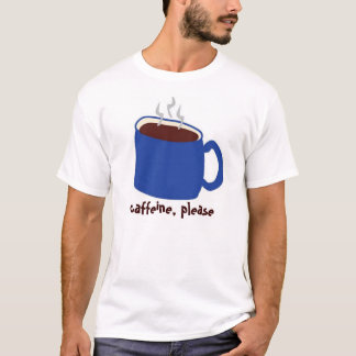 Azul del cafeína camiseta
