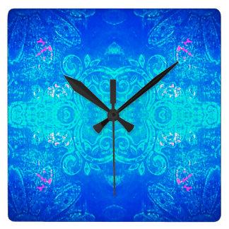 Azul del caleidoscopio/reloj de pared de la reloj cuadrado
