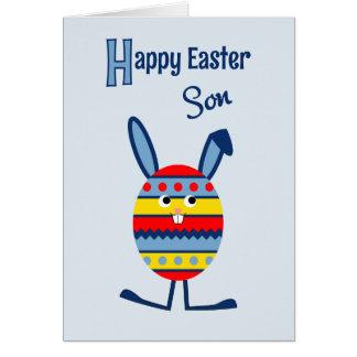 Azul del conejito del huevo de Pascua del hijo Tarjeta De Felicitación
