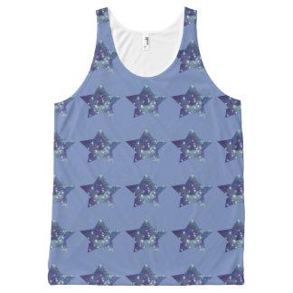 Azul del cornflower de la estrella camiseta de tirantes con estampado integral