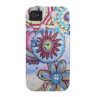 azul del en del doodle vibe iPhone 4 carcasas