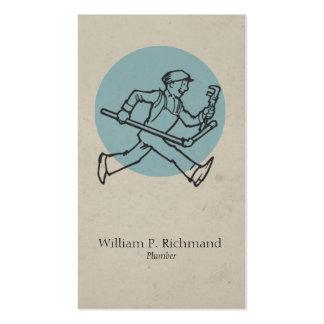 Azul del fontanero del vintage con el círculo tarjetas de visita