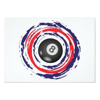 Azul del fútbol y blanco rojos invitación 12,7 x 17,8 cm