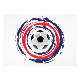 Azul del fútbol y blanco rojos invitacion personal