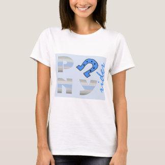 Azul del lado del jinete del potro camiseta
