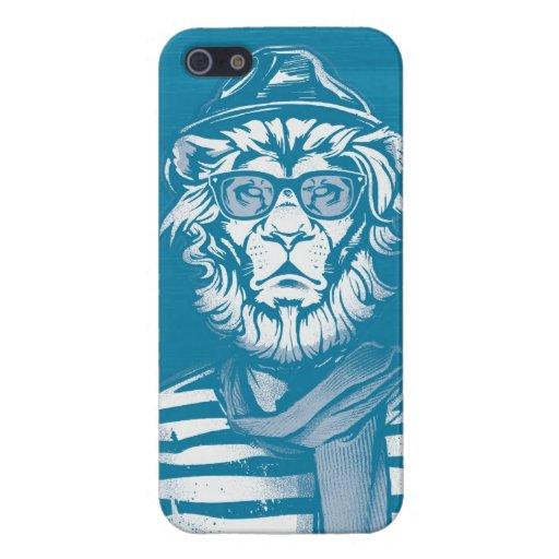 Azul del león del inconformista iPhone 5 cobertura