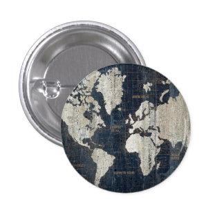 Azul del mapa de Viejo Mundo Chapa Redonda De 2,5 Cm