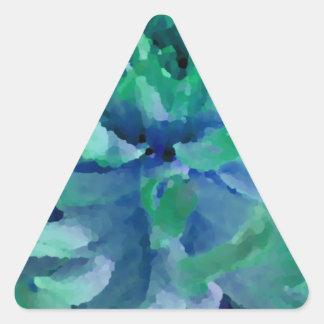 Azul del mar, verde del océano, dalia, floración pegatina triangular