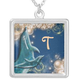 Azul del monograma del delfín grímpola