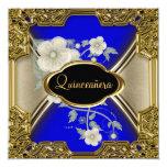 Azul del negro del oro de la fiesta de cumpleaños invitación 13,3 cm x 13,3cm