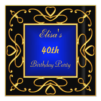 Azul del oro del negro de la invitación de la invitación 13,3 cm x 13,3cm