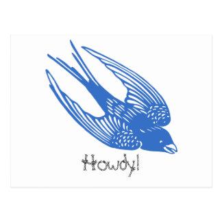 Azul del pájaro del trago tarjeta postal
