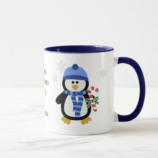 Azul del pingüino del navidad taza