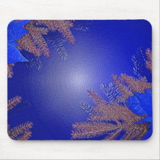 Azul del Poinsettia del navidad Alfombrilla De Ratón