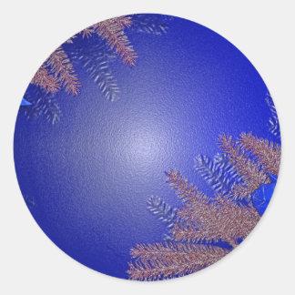 Azul del Poinsettia del navidad Pegatina Redonda