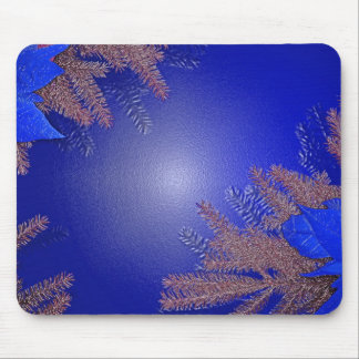 Azul del Poinsettia del navidad Tapete De Raton