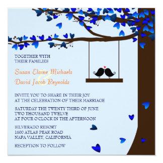 Azul del roble de los corazones de los pájaros del invitación 13,3 cm x 13,3cm