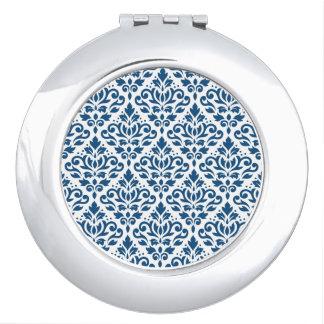 Azul del Rpt Ptn DK del damasco de la voluta en Espejos De Viaje