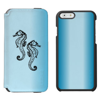 Azul del Seahorse Funda Cartera Para iPhone 6 Watson