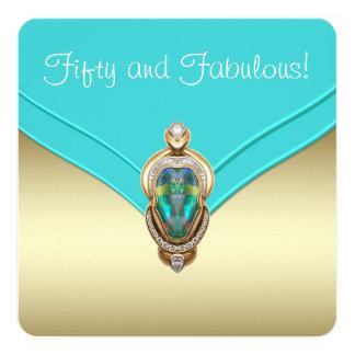 Azul del trullo y fiesta de cumpleaños elegantes invitación 13,3 cm x 13,3cm