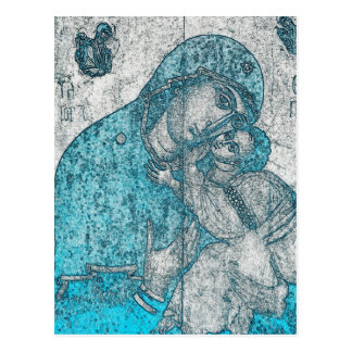 Azul del vintage del Jesucristo del Virgen María y Postal