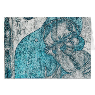 Azul del vintage del Jesucristo del Virgen María y Tarjeta De Felicitación