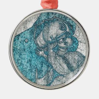 Azul del vintage del retrato del ángel de Jesús Adorno Navideño Redondo De Metal